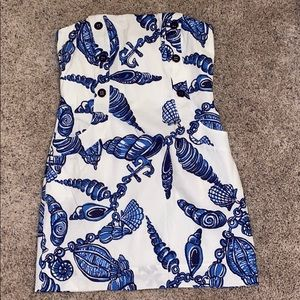 Blue and white lilly pulitizer strapless dress